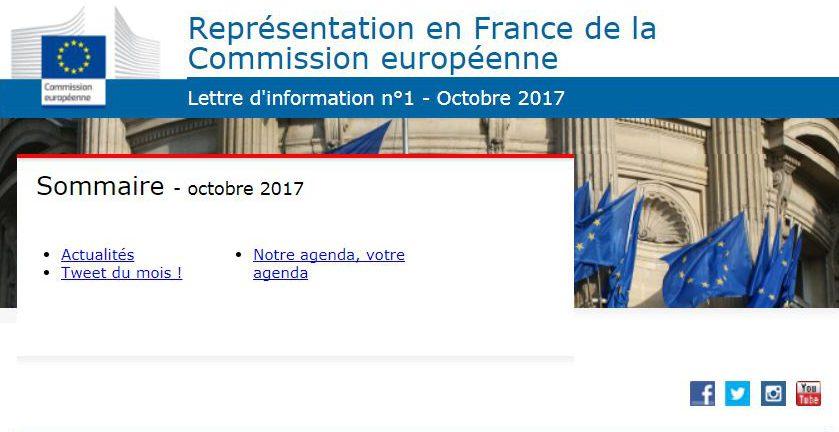 Représentation en France de la Commission européenne : nouvelle lettre d'information