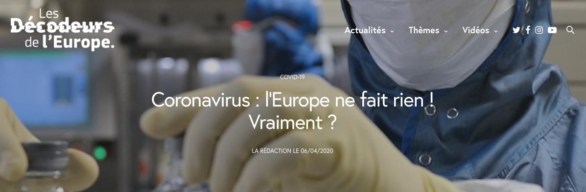 Coronavirus : l'Europe ne fait rien ! Vraiment ?
